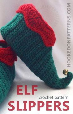 Elf Slippers Shoes Crochet Pattern - Crochet some fun curly toed slippers for Christmas. These slipper shoes crochet pattern includes all sizes from Toddler up to Adult Mens, so all the family can join in the festive fun! Modern Crochet Patterns, Christmas Crochet Patterns, Holiday Crochet, Kids Patterns, Crochet Gifts, Christmas Crochet Blanket, Crochet For Kids, Free Crochet, Crochet Baby