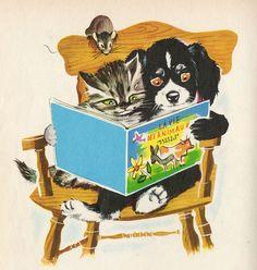 Illustration by Pierre Probst Zany Zoo, Old Children's Books, Vintage Illustration Art, Vintage Cat, Vintage Beauty, Animal Cards, Book Girl, Vintage Children, Cat Art
