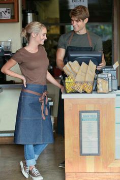 Indigo Blue Denim and Brown contrasting top-stitching & ties.  Get this full length Bistro Apron @ ChefsEmporium.net (http://www.chefsemporium.net/bistro-apron-blue-denim-.html)
