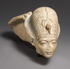 Limestone Head of Tutankhamun, New Kingdom, Dynasty 18, reign of Tutankhamun, c. 1336 - 1327 BC