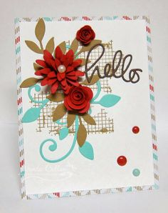 """Beautiful """"Hello"""" card by Cullen-ary Creations (SU Off The Grid Stamped BG w/Simon Says Stamps """"hello"""" die, Sizzlits Little Leaves (SU) & MFT Leaf Flourish, Rolled Roses & Daisy Die-namics)"""