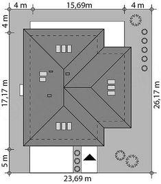 Rzut projektu Goran 3 Hip Roof Design, Tuscan House Plans, Building A House, Building Ideas, Roof Detail, Roof Plan, Metal Buildings, My House, Floor Plans