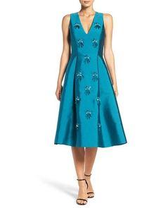 8ae2758ab43b4 Women s Blue  claudette  Embellished Jacquard Fit   Flare Dress