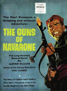 "An illustration of a novel excerpt from ""The Guns of Navarone"" by Alistair MacLean, illustrated by Al Muenchen for The Saturday Evening Post (1956)"