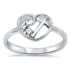 Swirl Heart Cross Ring Solid 925 Sterling Silver Round Clear Crystal Diamond White CZ Heart Cross Ring Size 2-10