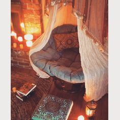 """New reading nook! I came across an antique sari, which is over the papasan cover. It's all stuff I already had but I'm changing the whole house around.…"""