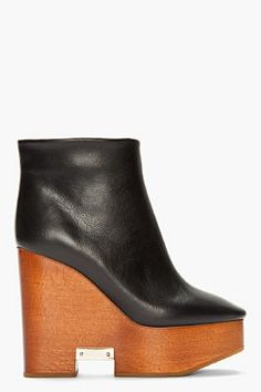Chloe Black Leather Wooden Wedge Cut Out Boots for women | SSENSE