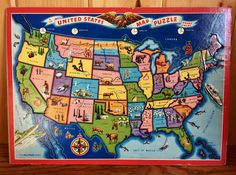 A Wonderful United States of America Map Puzzle. This Vintage Jigsaw Map Puzzle of the United States is about as new looking and feeling as you can find for something around 60 + years old. Although no actual date is stamped on this puzzle, we know this had to be manufactured before 1959, why? As seen in all of the photos there are only 48 States - Alaska and Hawaii are not on the board and were not introduced as the 49th & 50th States until 1959 We honestly dont believe that this puzzl...