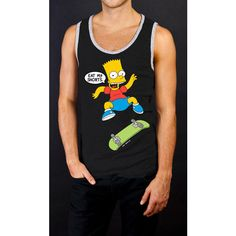 The Simpsons Bart Simpson Tank Extra Large ($9.99) ❤ liked on Polyvore featuring tops