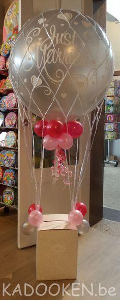 heliumballonnen, huwelijk, zilver, just married decoratie,  luchtballon, enveloppendoos, ballonnenwinkel, kadooken.be