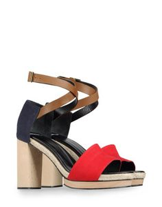 Canvas, leather and wood. Pierre Hardy, Color Blocking, Heeled Mules, Sandals, Heels, Canvas Leather, Women, Fashion, Heel