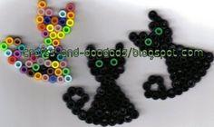 Cat (circle board) Mini Hama Beads, Fuse Beads, Perler Beads, Hama Beads Halloween, Halloween Embroidery, Hama Beads Design, Iron Beads, Christmas Ornaments To Make, Beaded Animals