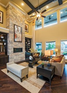 Nice stone fireplace and built-ins around it.