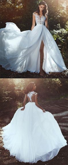 Elegant Lace Appliques Cap Sleeves Chiffon Wedding Dresses Boho Style Bridal Gowns