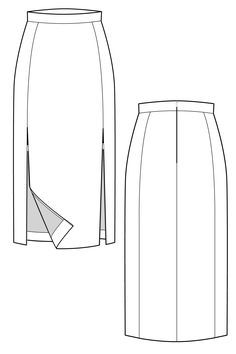 Double thigh split skirt flat drawing by Ralph Pink