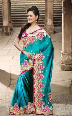 USD 177.89 Greenish Blue Silk Party Wear Saree 30609