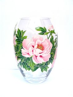 Hey, I found this really awesome Etsy listing at https://www.etsy.com/listing/244680891/hand-painted-glass-vase-peonies-hand