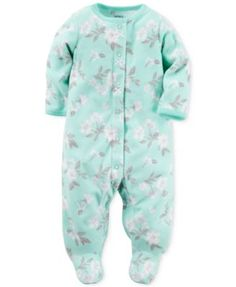 Carter's Baby Microfleece Girls' Floral-Print Footed Coverall