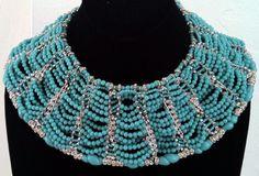 William de Lillo - Collier 'Vagues' - Métal Argent, Strass et Perles Façon Turquoise - 1969