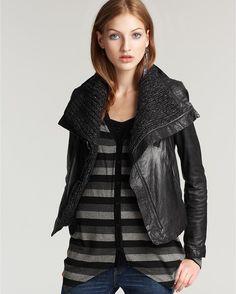 Please, please, please: leather knit jacket by Line.