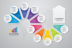 Circle Infographic, Timeline Infographic, Infographic Templates, Infographics Design, Modern Business Cards, Business Card Design, Web Design, Powerpoint Background Design, Vector Background