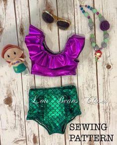 b792b1f55 Sewing pattern PDF sewing pattern High waisted swimsuit Baby Toddler Girls  Ruffle top and bottom Swimsuit Bathing Suit Bikini (3m-2t)