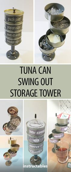 Tuna Can Swing Out Storage Tower  #upcycle #reuse #organization