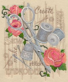 Machine Embroidery Projects Machine Embroidery Designs at Embroidery Library! - New This Week Machine Embroidery Projects, Embroidery Transfers, Learn Embroidery, Free Machine Embroidery, Vintage Embroidery, Embroidery Applique, Embroidery Stitches, Embroidery Jewelry, Vintage Sewing
