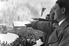 Chancellor Hitler saluting the athletes from balcony of the Olympic House during opening ceremony of the IV Olympic Winter Games, Garmisch-Partenkirchen, Bavaria, Germany, 6 Feb 1936 / Heinrich Hoffmann Winter Olympic Games, Winter Games, Winter Olympics, 1936 Olympics, Germany Ww2, Bavaria Germany, German People, The Third Reich, Oscar