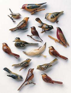"Bird pins (brooches) made out of scrap materials by Japanese Americans held in internment camps during World War II. From The Art of Gaman: Arts & Crafts from the Japanese American Internment Camps 1942-1946 by Delphine Hirasuna (Ten Speed Press, 2005). Gaman is a Japanese term of Zen Buddhist origin which means ""enduring the seemingly unbearable with patience and dignity""."