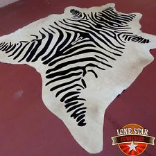 New Zebra Print Printed Cowhide Rug Leather CowSkin Black and Camel Tones ZE7   ebay  9-19-15  $199.99