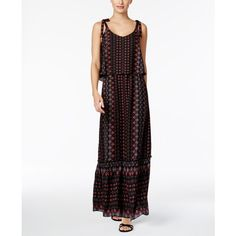 Ny Collection Petite Printed Tie-Shoulder Popover Maxi Dress ($26) ❤ liked on Polyvore featuring dresses, rose gemfleur, tie-dye maxi dresses, petite dresses, petite maxi dresses, petite length maxi dresses and petite white dresses