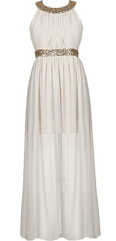 Iced Grecian Dress: Features glittering gold sequin banding highlighting the neck and waist, beautifully set back straps with rear triangular cutout, gracefully ruched fabric throughout, and romantic floor-grazing chiffon fabric to finish.
