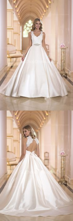 2015 Satin Bridal Dresses V Neck Appliques Beading Sash Elegant Ball Gown with Bow Court Train Wedding Gowns