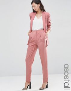 Image 1 of ASOS TALL Soft Lux Tapered Trousers