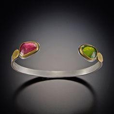 Pink Tourmaline and Vesuvianite Cuff Bracelet
