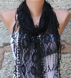 Black Lace Scarf Wedding ShawlEvening Scarf Cowl