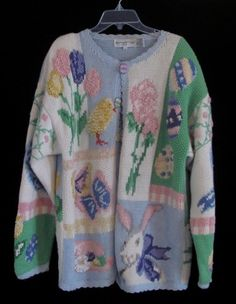 Vtg 1990s 1994 Hand Knit Easter Bunny Egg Tree Theme Sweater L | eBay $55