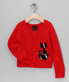 Girls Rule Red Cat Cardigan - Girls  #zulily and #fall