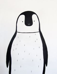 Modern kids and nursery art - Penguin (Black and white) - Adriane Duckworth Original Paintings on Etsy