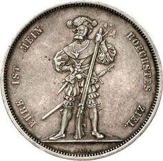 Switzerland 5 Franconia (Schützentaler) Bern 1857. Divo 47. only issued 5195 provenance. good very fine, tiny margin fault  Dealer Teutoburger Münzauktion & Handel GmbH  Auction Minimum Bid: 300.00EUR