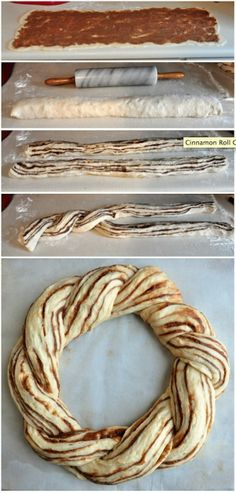 """How to make a Cinnamon Roll Couronne (Crown loaf) - check the recipe link to see the finished baked result when an amazingly light and delicious cinnamon roll recipe gets turned into an easy to make and very impressive Couronne or """"Crown"""" loaf. Makes a beautiful centerpiece for a special weekend brunch."""