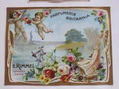 Parfumerie Britannia E. Antique Perfume Bottles, Vintage Perfume, Vintage Labels, Vintage Ads, Beauty Products Labels, Vintage Paper Crafts, Old Commercials, Soap Labels, Paper Trail