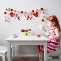 Valentine's Day tea party. Cute Valentine's Day garland banner. Prefer glitter bow and Valentine's Day dress.