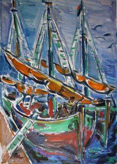 Carl Rabus Schiffe im Hafen, 1930er Jahre, Öl auf Leinwand