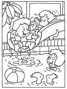 Kleurplaat Glijbaan in het zwembad ( vakantie ) - Kleurplaten.nl