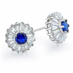 Radiant and elegant, these stunning art deco style stud earrings are simply gorgeous. Made from rhodium plated brass, these round cubic zirconia stud earrings feature sparkling baguette czs in a crown setting around a brilliant round cut cz. These vintage Sapphire Earrings, Gemstone Earrings, Women's Earrings, Big Jewelry, Sapphire Color, Bling, Baguette, Studs, Earring Set