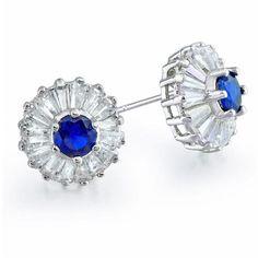 Vintage Baguette Cut Blue Sapphire CZ Crown Stud Earrings