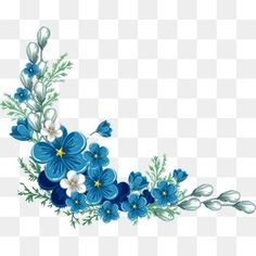 painted blue flower border, , Painted, Blue PNG and Vector