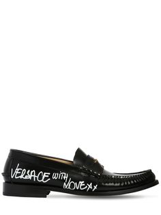d7ee6cb72bfb22 VERSACE LEATHER LOAFERS W  GRAFFITI PRINTED LOGO.  versace  shoes